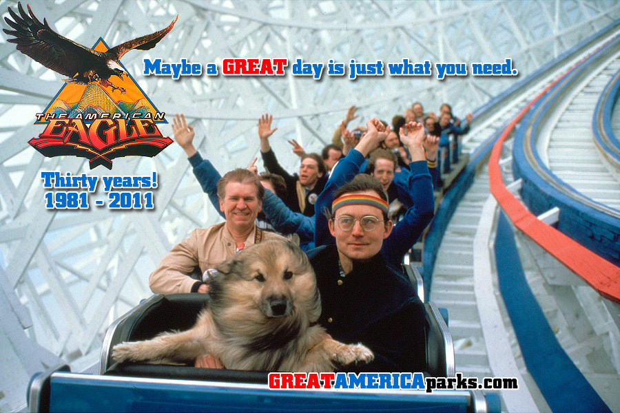 American Eagle thirtieth anniversary featuring Joe Barna and dog Zonker riding the roller coaster